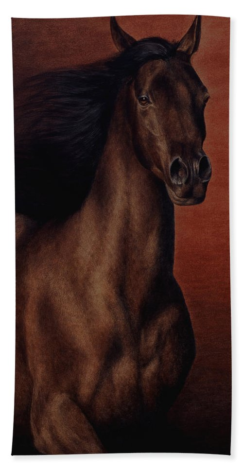 Horse Hand Towel featuring the painting Embers by Pat Erickson