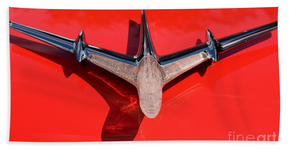 Car Bath Sheet featuring the photograph Emblem On Red by Vivian Christopher