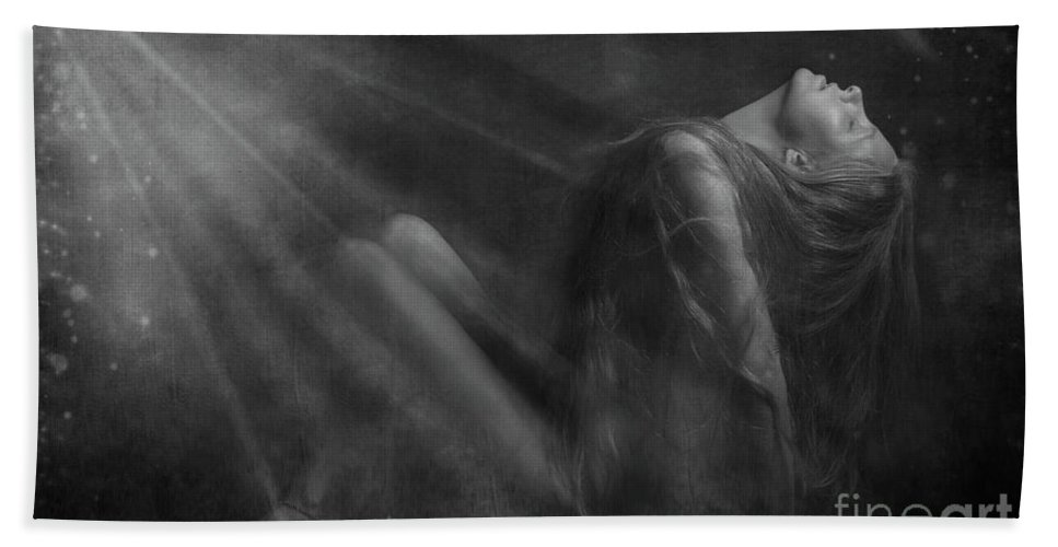 Festblues Bath Sheet featuring the photograph Embraced By The Light.. by Nina Stavlund