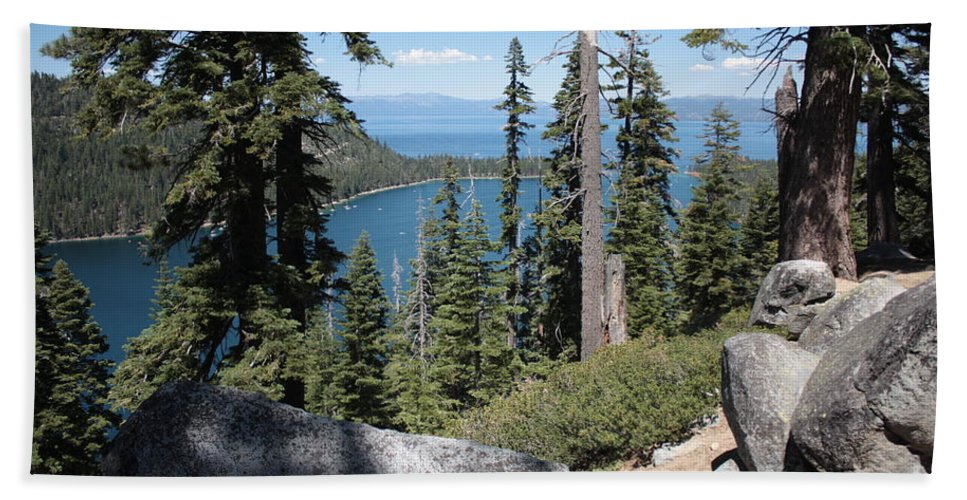 Emerald Bay Hand Towel featuring the photograph Emerald Bay Vista by Carol Groenen