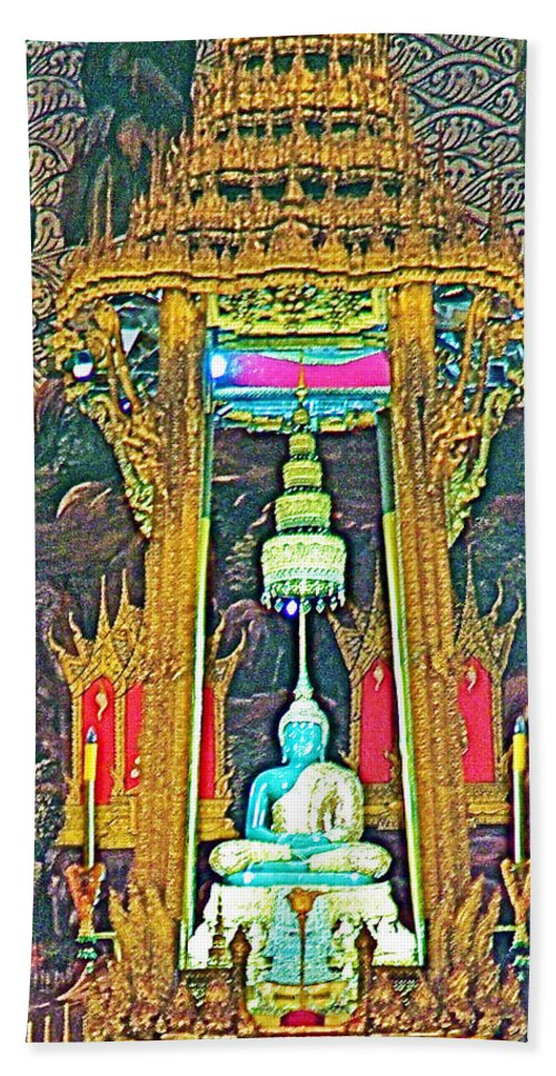 Emerald Buddha In Royal Temple At Grand Palace Of Thailand In Bangkok Hand Towel featuring the photograph Emerald Buddha In Royal Temple At Grand Palace Of Thailand by Ruth Hager
