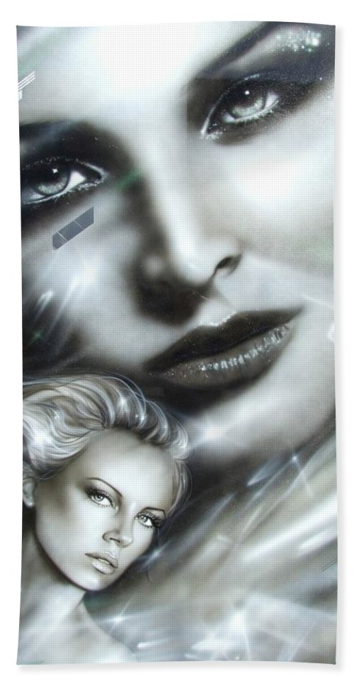 Charlize Theron Hand Towel featuring the painting Emerald by Christian Chapman Art