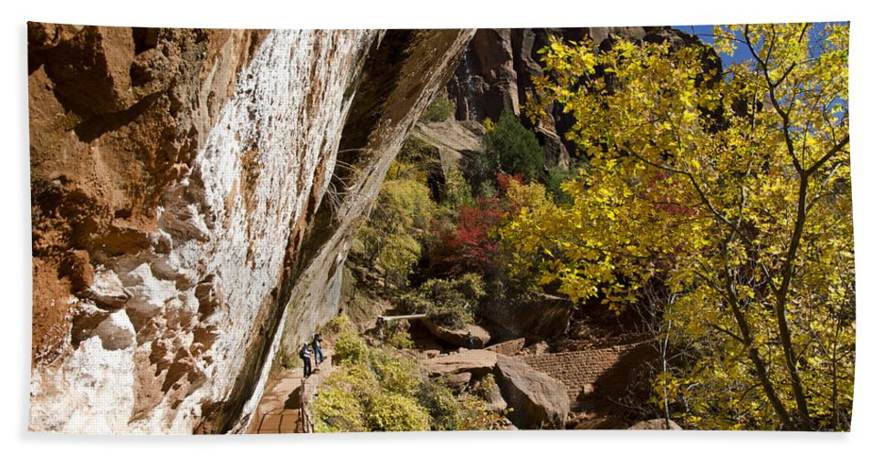 Zion National Park Hand Towel featuring the photograph Emerald Falls Zion National Park by Jon Berghoff
