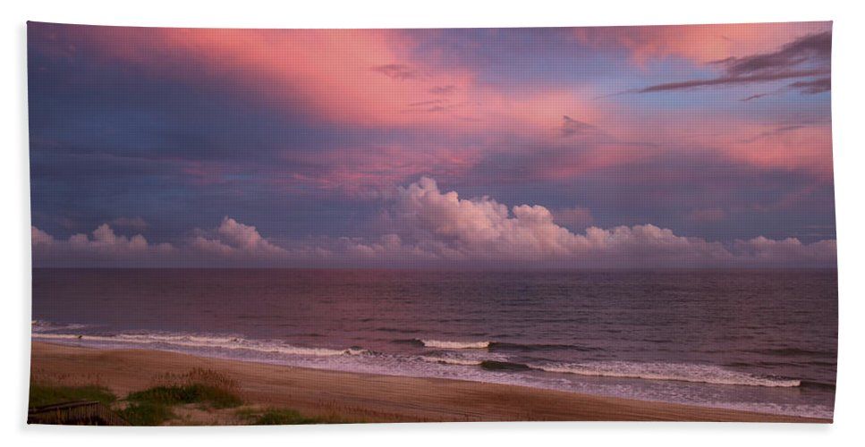 Sunset Hand Towel featuring the photograph Emerald Isle Sunset by Debby Richards