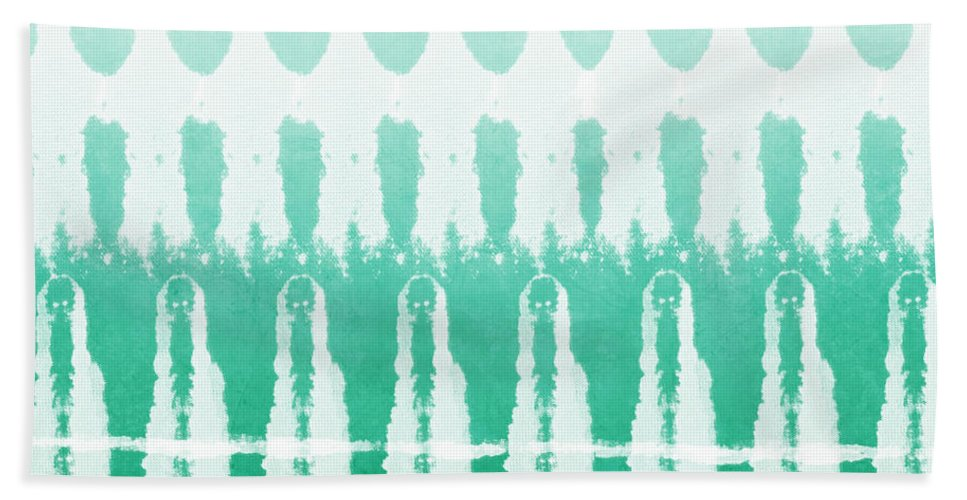 Abstract Hand Towel featuring the painting Emerald Ombre by Linda Woods