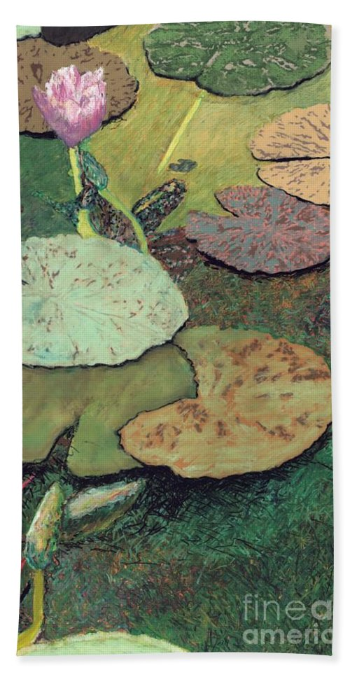 Landscape Hand Towel featuring the painting Emerald Pond by Allan P Friedlander