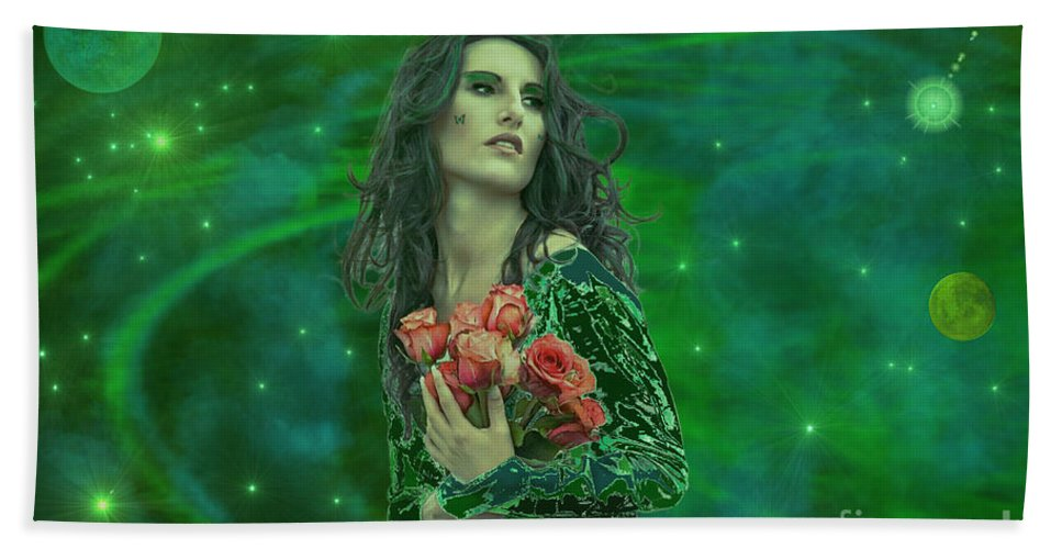 Woman Hand Towel featuring the digital art Emerald Universe by Michael Rucker