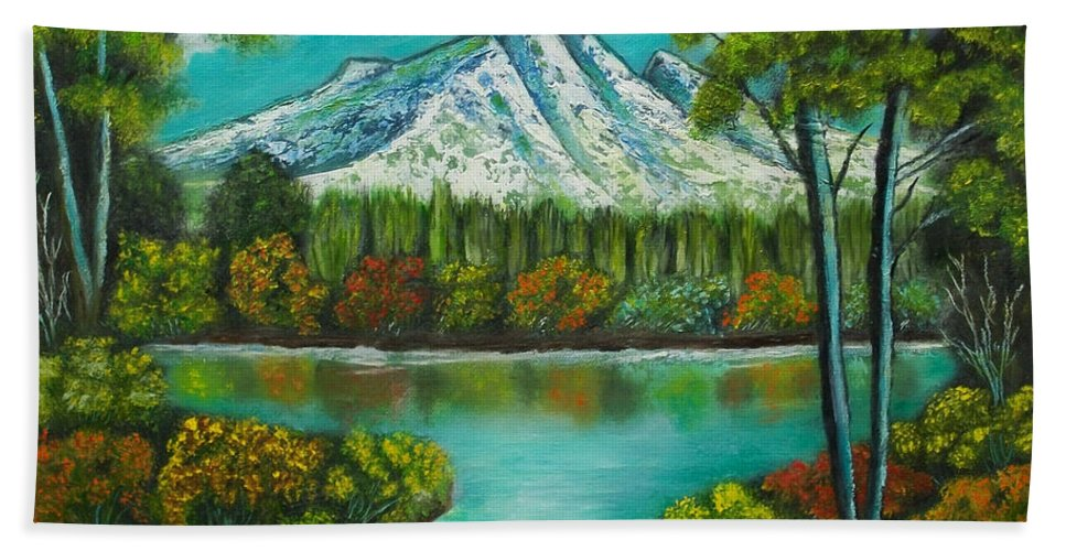 Landscape Bath Sheet featuring the painting Emerald Valley by Brenda Drain