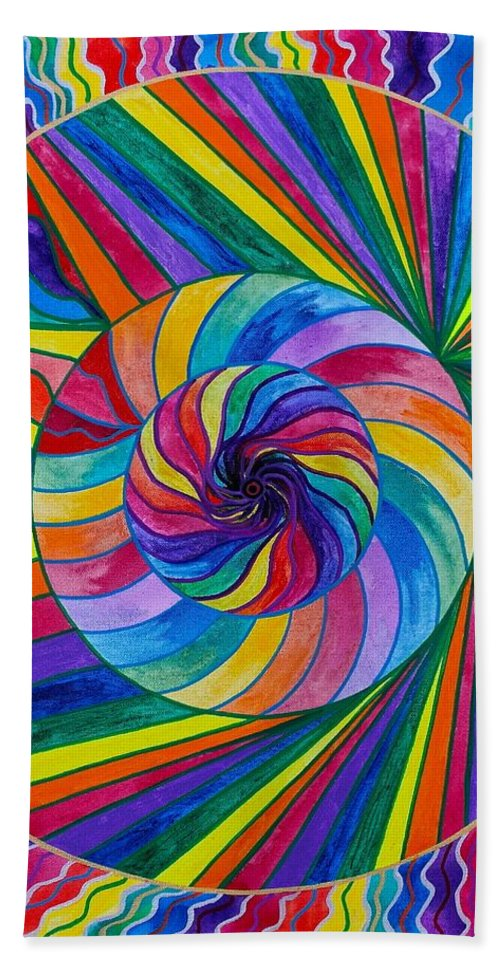 Vibration Bath Towel featuring the painting Emerge by Teal Eye Print Store