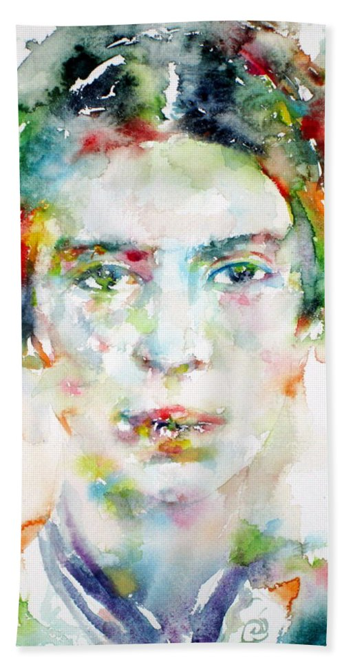 Emily Dickinson Bath Sheet featuring the painting Emily Dickinson - Watercolor Portrait by Fabrizio Cassetta
