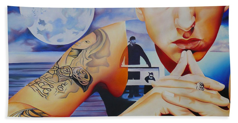 Eminem Hand Towel featuring the painting Eminem by Joshua Morton