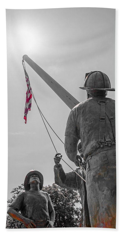 Firefighter Hand Towel featuring the photograph Emmitsburg 9 - 11 Memorial by Susan McMenamin