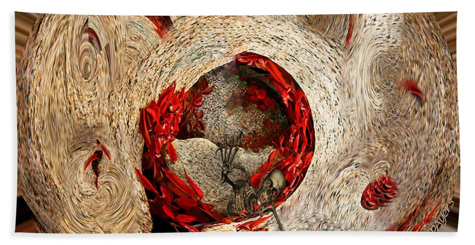 Paula Ayers Hand Towel featuring the mixed media Emotional Upheaval II Squared by Paula Ayers