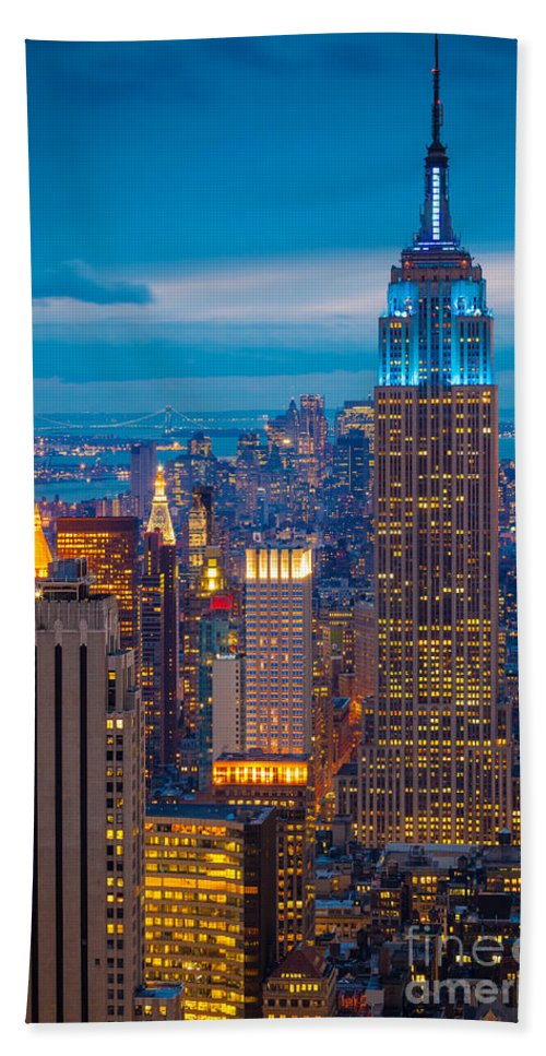 America Bath Towel featuring the photograph Empire State Blue Night by Inge Johnsson