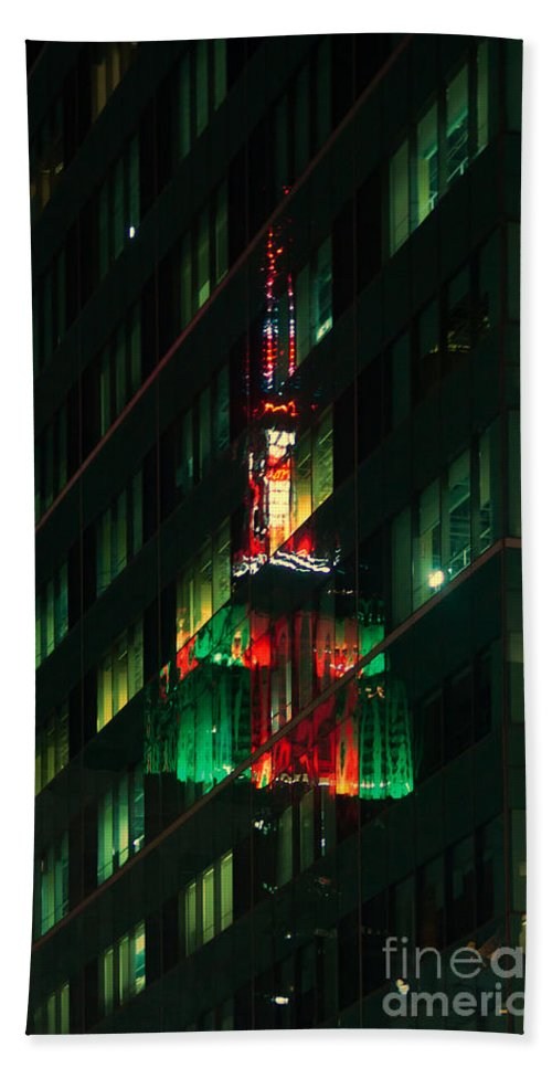 Empire State Building Hand Towel featuring the photograph Empire State Building Reflection by Betsy Foster Breen