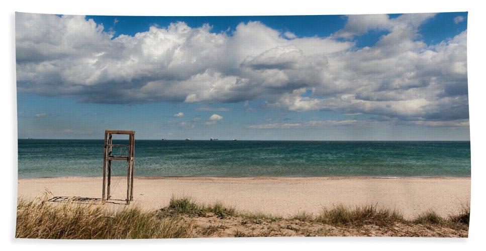 Lonely Beach Bath Sheet featuring the photograph Empty Beach by Juan Carlos Ferro Duque