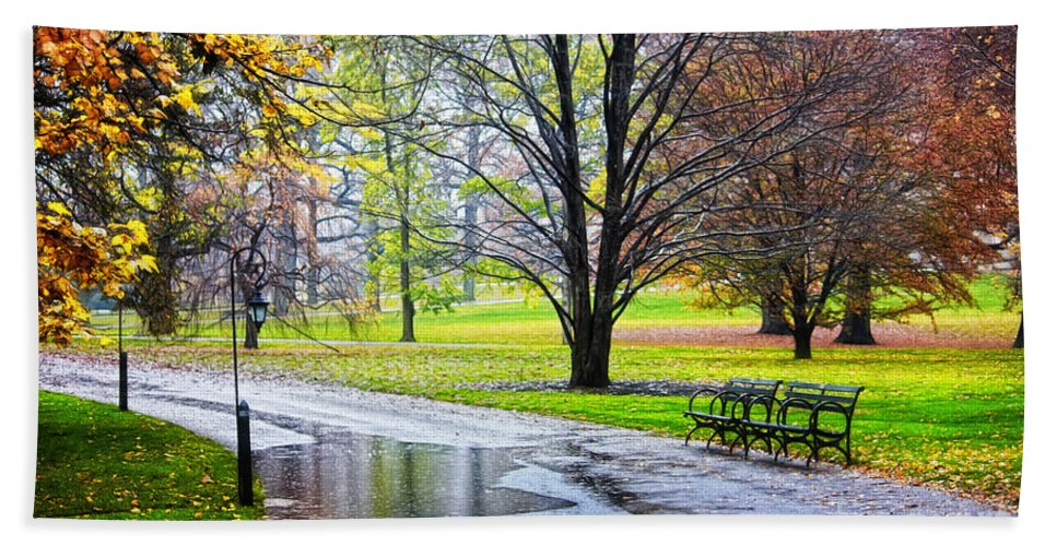 Park Bath Sheet featuring the photograph Empty Walkway On A Beautiful Rainy Autumn Day by Nishanth Gopinathan