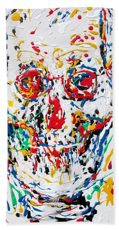 Skull Hand Towel featuring the painting Enamels Skull Painting by Fabrizio Cassetta