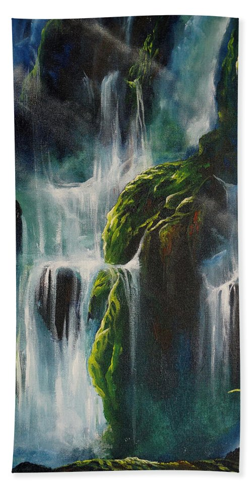 Waterfalls Hand Towel featuring the painting Enchanted by Marco Antonio Aguilar