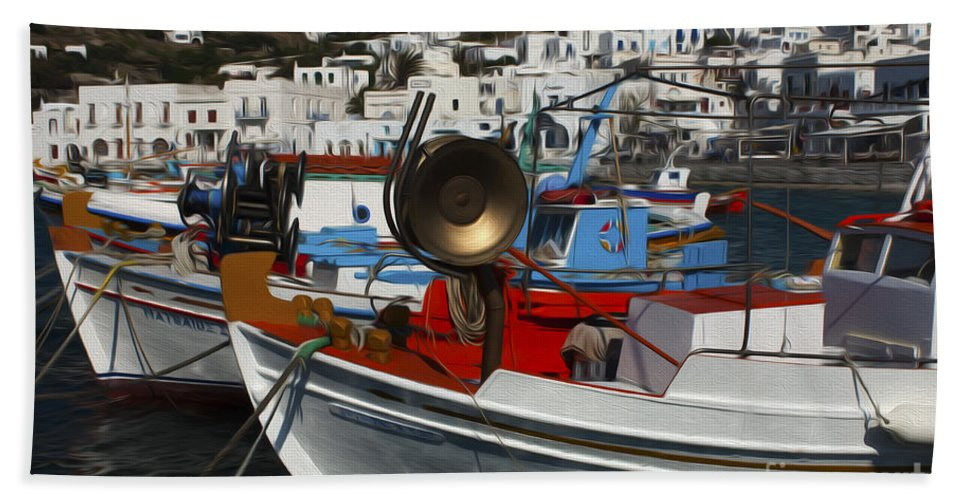 Mykonos Hand Towel featuring the photograph Enchanted Spaces Mykonos Greece 2 by Bob Christopher
