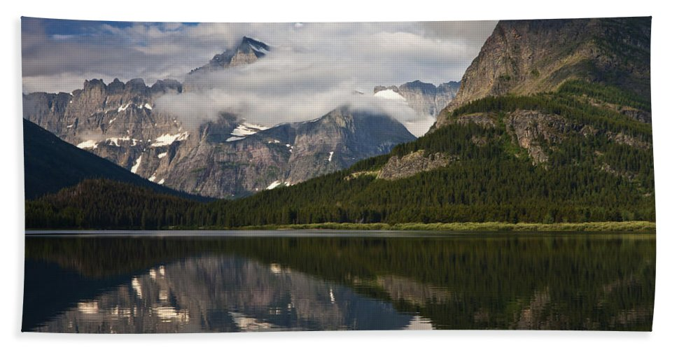 Clouds Bath Sheet featuring the photograph Enchanting Swiftcurrent by Mark Kiver