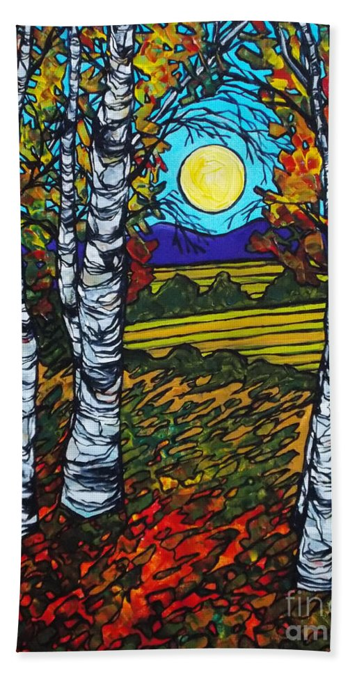 Birch Trees Hand Towel featuring the painting End Of Summer Birches by Tracy Levesque
