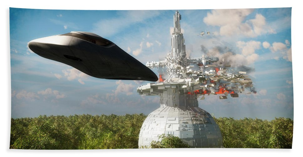 Scifi Bath Sheet featuring the digital art End Of The Kordoni Accords... by Tim Fillingim