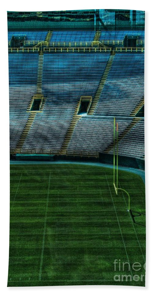 Lambeau Field Hand Towel featuring the photograph End Zone Lambeau Field by Tommy Anderson