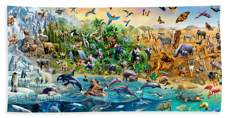 Adrian Chesterman Bath Towel featuring the digital art Endangered Species by MGL Meiklejohn Graphics Licensing