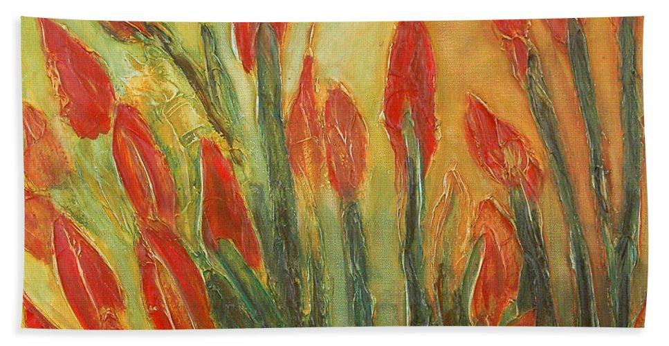Flower Bath Towel featuring the painting Endangered Species by Tonya Henderson