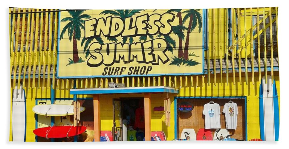 7ef1bd208e12 Surfing Hand Towel featuring the photograph Endless Summer Surf Shop -  Ocean City Maryland by Kim