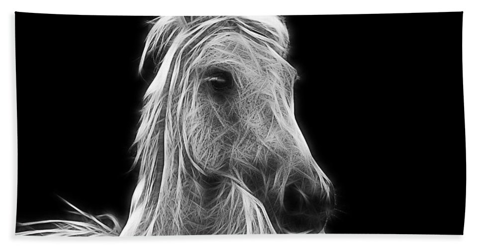 Horse Bath Towel featuring the photograph Energetic White Horse by Joachim G Pinkawa