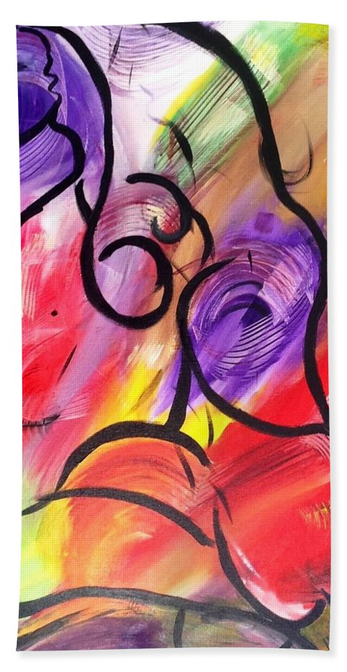 Acrylic Hand Towel featuring the painting Energy In Motion by Yasmina Altomare