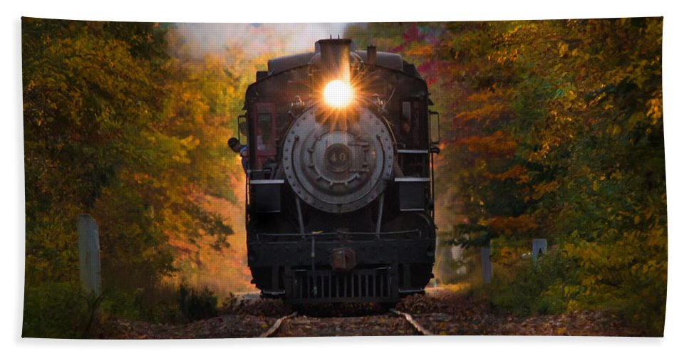 Steam Train Bath Sheet featuring the photograph Engine #40 Leaving Essex by Jonathan Steele