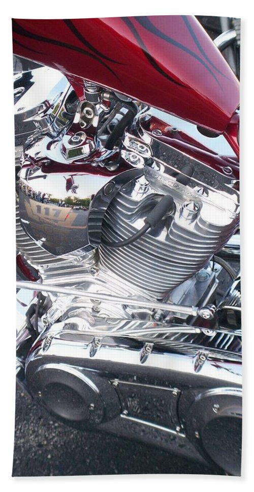 Motorcycles Bath Towel featuring the photograph Engine Close-up 4 by Anita Burgermeister