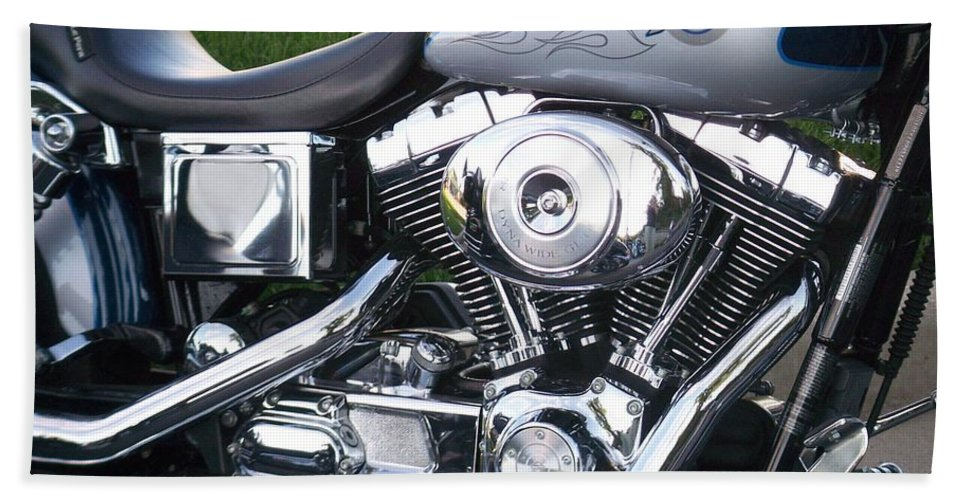 Motorcycles Bath Sheet featuring the photograph Engine Close-up 5 by Anita Burgermeister