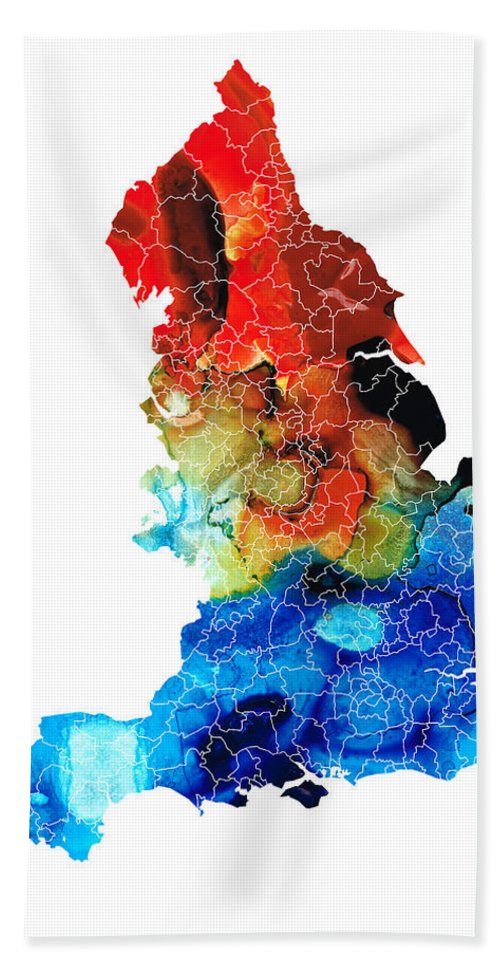 England Hand Towel featuring the painting England - Map Of England By Sharon Cummings by Sharon Cummings