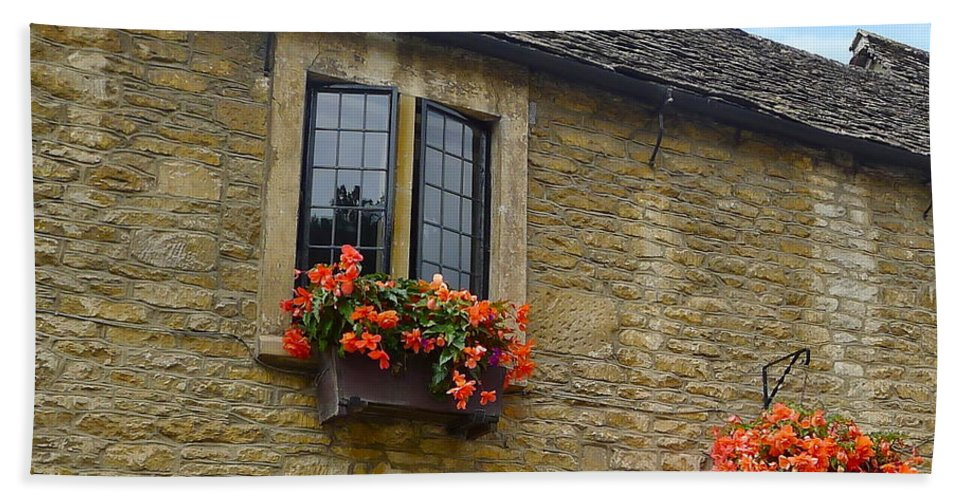 Window Bath Sheet featuring the photograph English Cottage Flower Box by Denise Mazzocco