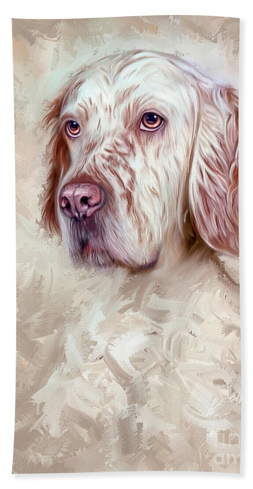 English Setter Hand Towel featuring the painting English Setter by Linton Hart