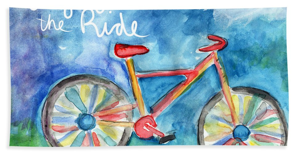 Bike Bath Sheet featuring the painting Enjoy The Ride- Colorful Bike Painting by Linda Woods