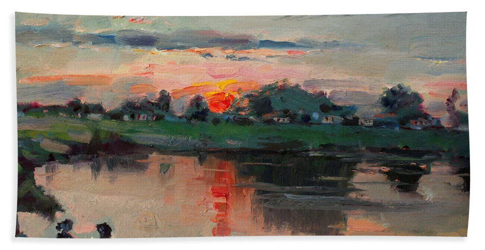 Enjoying Bath Sheet featuring the painting Enjoying The Sunset By Elmer's Pond by Ylli Haruni