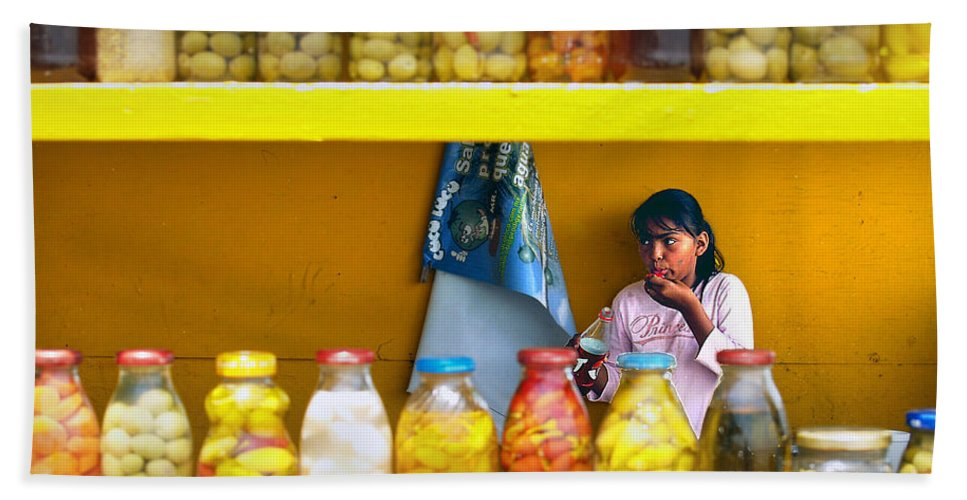 Ensenada Hand Towel featuring the photograph Ensenada Olive Stand 07 by Jeff Brunton