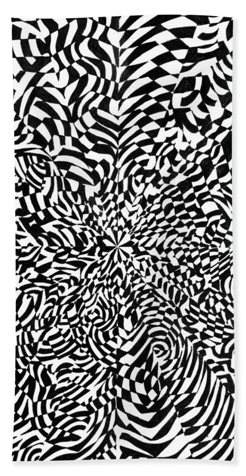 Abstract Bath Towel featuring the drawing Entangle by Crystal Hubbard