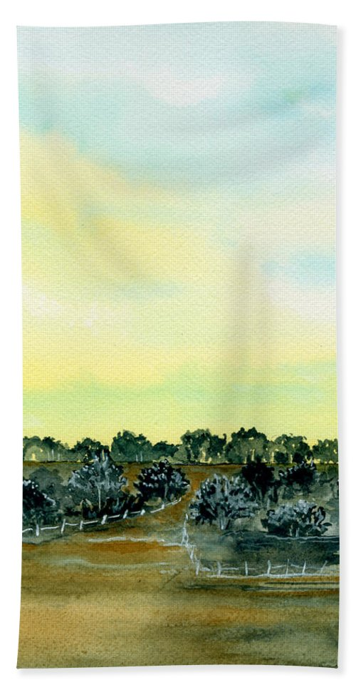 Landscape Hand Towel featuring the painting Entering The Shire by Brenda Owen
