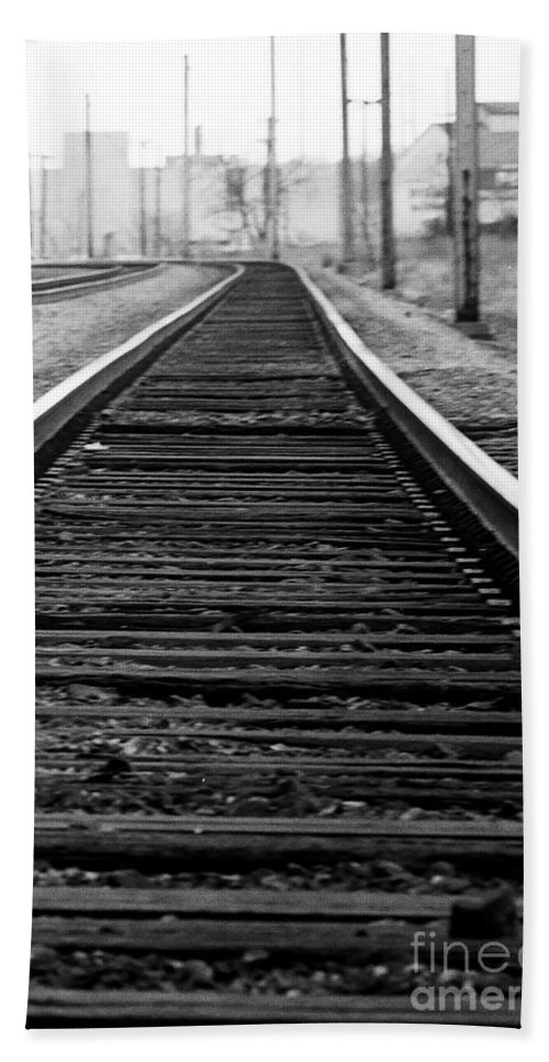 Tracks Hand Towel featuring the photograph Entering The Train Yard. Washington Dc by Thomas Marchessault