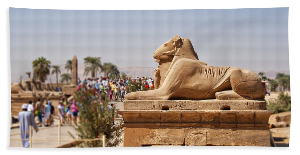 Destination Hand Towel featuring the photograph Entrance Sculpture By The Temple Of Karnak by Sophie McAulay