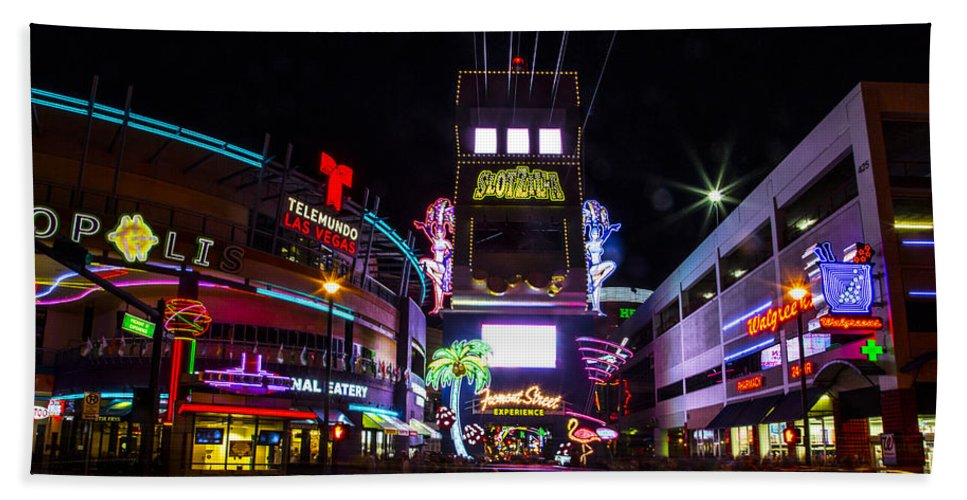 Las Vegas Hand Towel featuring the photograph Entrance To The Experience by Angus Hooper Iii
