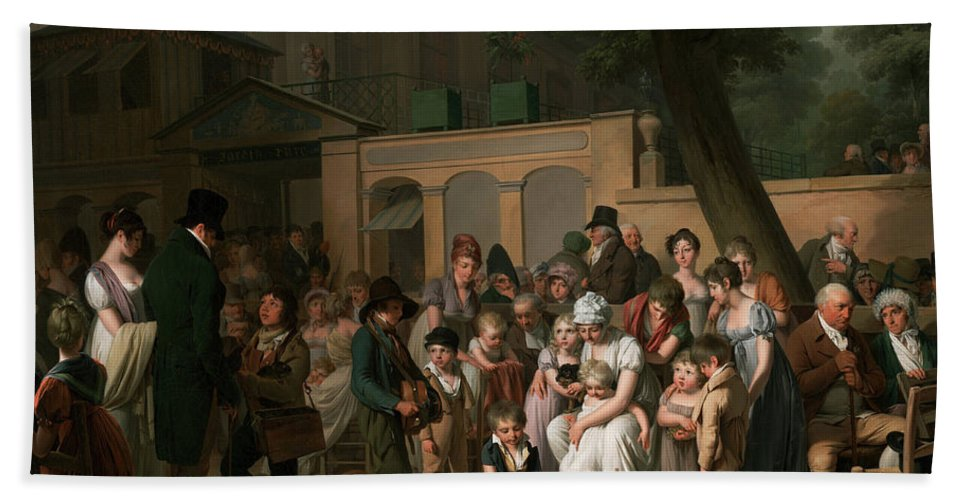 Louis Leopold Boilly Bath Sheet featuring the painting Entrance To The Jardin Turc by Louis Leopold Boilly