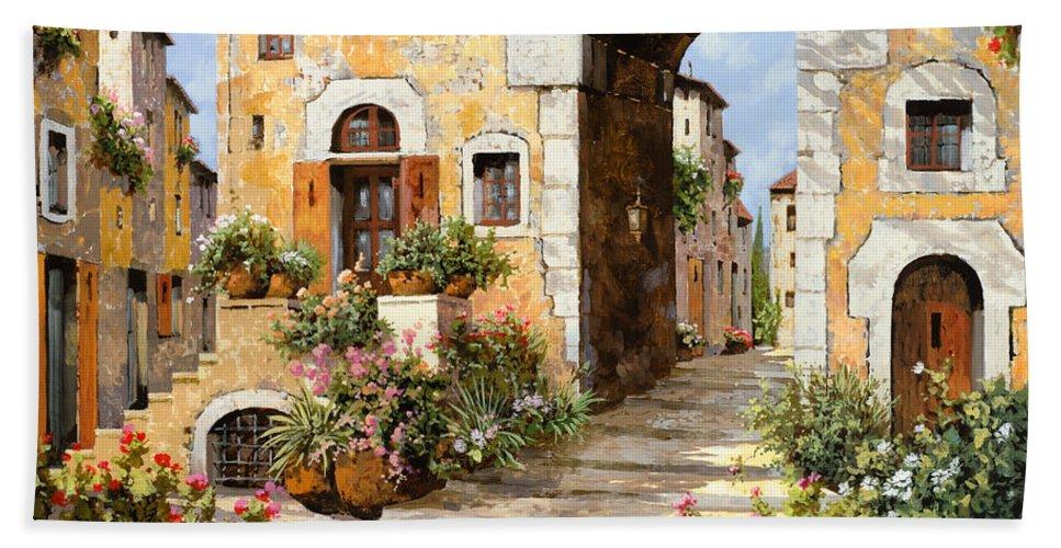 Cityscape Bath Towel featuring the painting Entrata Al Borgo by Guido Borelli