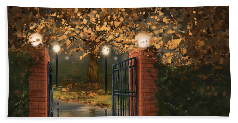 Autumn Hand Towel featuring the painting Entry by Veronica Minozzi